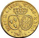 Photo numismatique  ARCHIVES VENTE 2016 -6 juin ROYALES FRANCAISES LOUIS XV (1er septembre 1715-10 mai 1774)  33- Louis d'or aux lunettes, Amiens 1728.