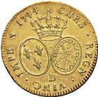 Photo numismatique  ARCHIVES VENTE 2016 -6 juin ROYALES FRANCAISES LOUIS XV (1er septembre 1715-10 mai 1774)  36- Double Louis d'or au bandeau, Lyon 1744.