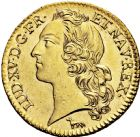 Photo numismatique  ARCHIVES VENTE 2016 -6 juin ROYALES FRANCAISES LOUIS XV (1er septembre 1715-10 mai 1774)  39- Louis d'or au bandeau, Paris 1740, 1ère année de frappe.