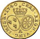 Photo numismatique  ARCHIVES VENTE 2016 -6 juin ROYALES FRANCAISES LOUIS XV (1er septembre 1715-10 mai 1774)  39- Louis d'or au bandeau, Paris 1740, 1ère année de frappe.