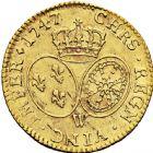 Photo numismatique  ARCHIVES VENTE 2016 -6 juin ROYALES FRANCAISES LOUIS XV (1er septembre 1715-10 mai 1774)  41- Louis d'or au bandeau, Lille 1747.