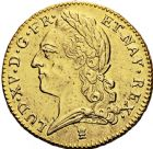 Photo numismatique  ARCHIVES VENTE 2016 -6 juin ROYALES FRANCAISES LOUIS XV (1er septembre 1715-10 mai 1774)  43-  Double louis d'or à la vieille tête, frappé à Limoges en 1772.