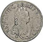 Photo numismatique  ARCHIVES VENTE 2016 -6 juin ROYALES FRANCAISES LOUIS XV (1er septembre 1715-10 mai 1774)  44- Ecu vertugadin, Paris 1715 - Ecu de Navarre, Amiens 1719. (Duplessy, n°1651, 1657). Argent. 30,30g. 24,32g.