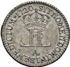 Photo numismatique  ARCHIVES VENTE 2016 -6 juin ROYALES FRANCAISES LOUIS XV (1er septembre 1715-10 mai 1774)  45- Livre dite «de la compagnie des Indes», Paris 1720.
