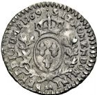 Photo numismatique  ARCHIVES VENTE 2016 -6 juin ROYALES FRANCAISES LOUIS XV (1er septembre 1715-10 mai 1774)  48- 1/20ème d'écu au bandeau, Metz 1769.