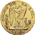 Photo numismatique  ARCHIVES VENTE 2016 -6 juin MODERNES FRANÇAISES LA CONVENTION (22 septembre 1792 - 26 octobre 1795)  76- Louis d'or de 24 livres, Paris 1793 an II.