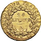 Photo numismatique  ARCHIVES VENTE 2016 -6 juin MODERNES FRANÇAISES LA CONVENTION (22 septembre 1792 - 26 octobre 1795)  76- Louis d'or de 24 livres, Paris 1793 an II.