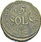 Photo numismatique  ARCHIVES VENTE 2016 -6 juin MODERNES FRANÇAISES LA CONVENTION (22 septembre 1792 - 26 octobre 1795) Siège de MAYENCE. (31 mars au 23 juillet 1793) 79- 5 Sols 1793 an 2 - 2 sols 1793 an 2.
