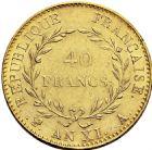 Photo numismatique  ARCHIVES VENTE 2016 -6 juin MODERNES FRANÇAISES BONAPARTE, 1er consul (24 décembre 1799-18 mai 1804)  81- 40 francs or, Paris an XI.