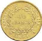 Photo numismatique  ARCHIVES VENTE 2016 -6 juin MODERNES FRANÇAISES BONAPARTE, 1er consul (24 décembre 1799-18 mai 1804)  82- 40 francs or, Paris an XI.