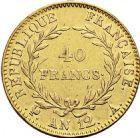 Photo numismatique  ARCHIVES VENTE 2016 -6 juin MODERNES FRANÇAISES BONAPARTE, 1er consul (24 décembre 1799-18 mai 1804)  83- 40 francs or, Paris an 12.