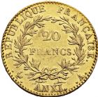 Photo numismatique  ARCHIVES VENTE 2016 -6 juin MODERNES FRANÇAISES BONAPARTE, 1er consul (24 décembre 1799-18 mai 1804)  85- 20 francs or, Paris an XI.
