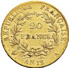 Photo numismatique  ARCHIVES VENTE 2016 -6 juin MODERNES FRANÇAISES BONAPARTE, 1er consul (24 décembre 1799-18 mai 1804)  86- 20 francs or, Paris an 12.