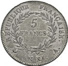 Photo numismatique  ARCHIVES VENTE 2016 -6 juin MODERNES FRANÇAISES BONAPARTE, 1er consul (24 décembre 1799-18 mai 1804)  87- 5 francs, Paris an XI.