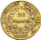 Photo numismatique  ARCHIVES VENTE 2016 -6 juin MODERNES FRANÇAISES NAPOLEON Ier, empereur (18 mai 1804- 6 avril 1814)  91- 20 francs or, Paris an 12.