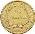 Photo numismatique  ARCHIVES VENTE 2016 -6 juin MODERNES FRANÇAISES NAPOLEON Ier, empereur (18 mai 1804- 6 avril 1814)  93-  40 francs, Paris an 13.
