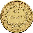 Photo numismatique  ARCHIVES VENTE 2016 -6 juin MODERNES FRANÇAISES NAPOLEON Ier, empereur (18 mai 1804- 6 avril 1814)  98- 40 francs or, Paris 1806.