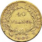 Photo numismatique  ARCHIVES VENTE 2016 -6 juin MODERNES FRANÇAISES NAPOLEON Ier, empereur (18 mai 1804- 6 avril 1814)  99-  40 francs or, Toulouse 1806.