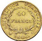 Photo numismatique  ARCHIVES VENTE 2016 -6 juin MODERNES FRANÇAISES NAPOLEON Ier, empereur (18 mai 1804- 6 avril 1814)  101-  40 francs or, Turin 1806.
