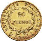 Photo numismatique  ARCHIVES VENTE 2016 -6 juin MODERNES FRANÇAISES NAPOLEON Ier, empereur (18 mai 1804- 6 avril 1814)  102- 20 francs or, Paris 1806.