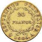 Photo numismatique  ARCHIVES VENTE 2016 -6 juin MODERNES FRANÇAISES NAPOLEON Ier, empereur (18 mai 1804- 6 avril 1814)  103-  20 francs or, Paris 1806.