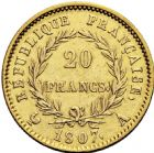 Photo numismatique  ARCHIVES VENTE 2016 -6 juin MODERNES FRANÇAISES NAPOLEON Ier, empereur (18 mai 1804- 6 avril 1814)  105-  20 francs or, Paris 1807.