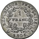 Photo numismatique  ARCHIVES VENTE 2016 -6 juin MODERNES FRANÇAISES NAPOLEON Ier, empereur (18 mai 1804- 6 avril 1814)  108- 1 franc, Paris 1806.
