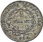 Photo numismatique  ARCHIVES VENTE 2016 -6 juin MODERNES FRANÇAISES NAPOLEON Ier, empereur (18 mai 1804- 6 avril 1814)  109- 1 franc, Paris 1806.