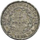 Photo numismatique  ARCHIVES VENTE 2016 -6 juin MODERNES FRANÇAISES NAPOLEON Ier, empereur (18 mai 1804- 6 avril 1814)  114- 1 franc «tête de nègre», Paris 1807.