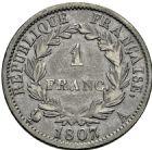 Photo numismatique  ARCHIVES VENTE 2016 -6 juin MODERNES FRANÇAISES NAPOLEON Ier, empereur (18 mai 1804- 6 avril 1814)  115- 1 franc «tête de nègre», Paris 1807.