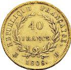 Photo numismatique  ARCHIVES VENTE 2016 -6 juin MODERNES FRANÇAISES NAPOLEON Ier, empereur (18 mai 1804- 6 avril 1814)  119- 40 francs or, La Rochelle 1808.