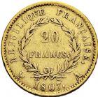 Photo numismatique  ARCHIVES VENTE 2016 -6 juin MODERNES FRANÇAISES NAPOLEON Ier, empereur (18 mai 1804- 6 avril 1814)  120- 20 francs or, Paris 1807.
