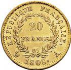 Photo numismatique  ARCHIVES VENTE 2016 -6 juin MODERNES FRANÇAISES NAPOLEON Ier, empereur (18 mai 1804- 6 avril 1814)  121- 20 francs or, Paris 1808.