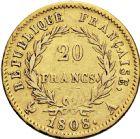 Photo numismatique  ARCHIVES VENTE 2016 -6 juin MODERNES FRANÇAISES NAPOLEON Ier, empereur (18 mai 1804- 6 avril 1814)  123- 20 francs or, Paris 1808.