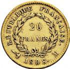 Photo numismatique  ARCHIVES VENTE 2016 -6 juin MODERNES FRANÇAISES NAPOLEON Ier, empereur (18 mai 1804- 6 avril 1814)  124- 20 francs or, Toulouse 1808.