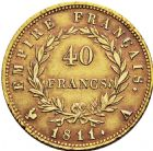 Photo numismatique  ARCHIVES VENTE 2016 -6 juin MODERNES FRANÇAISES NAPOLEON Ier, empereur (18 mai 1804- 6 avril 1814)  125- 40 francs or, Paris 1811.