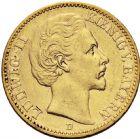 Photo numismatique  ARCHIVES VENTE 2016 -6 juin MONNAIES DU MONDE ALLEMAGNE BAVIÈRE, Louis II (1864-1886) 262- 20 mark 1873 D (Munich).