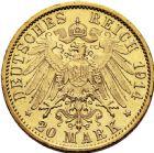 Photo numismatique  ARCHIVES VENTE 2016 -6 juin MONNAIES DU MONDE ALLEMAGNE PRUSSE, Guillaume II (1888-1918) 272- 20 mark 1914 A (Berlin).