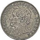 Photo numismatique  ARCHIVES VENTE 2016 -6 juin MONNAIES DU MONDE ALLEMAGNE SAXE, Jean V (1854-1873) 275- 2 thaler 1855 F (Stuttgart).