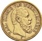 Photo numismatique  ARCHIVES VENTE 2016 -6 juin MONNAIES DU MONDE ALLEMAGNE WURTEMBERG, Karl (1864-1891) 278- 20 mark 1873 F (Stuttgart).
