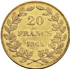 Photo numismatique  ARCHIVES VENTE 2016 -6 juin MONNAIES DU MONDE BELGIQUE ROYAUME, Léopold Ier (1831-1865) 286- 20 francs, 1865.