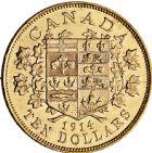 Photo numismatique  ARCHIVES VENTE 2016 -6 juin MONNAIES DU MONDE CANADA GEORGE V (1910-1936) 288- 10 dollars 1914.