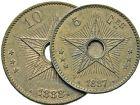 Photo numismatique  ARCHIVES VENTE 2016 -6 juin MONNAIES DU MONDE CONGO Léopold II (1865-1909) 290- 10 centimes 1888, 5 centimes 1887.