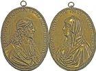 Photo numismatique  ARCHIVES VENTE 2016 -6 juin MEDAILLES France et Europe - XVIIe au Xxe siècle  346- Le Christ et la Vierge Marie. Deux plaques ovales.