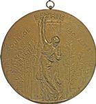 Photo numismatique  ARCHIVES VENTE 2016 -6 juin MEDAILLES France et Europe - XVIIe au Xxe siècle  373- Grande plaque, Courage Patrie Moralité, par Alphée Dubois.