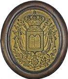 Photo numismatique  ARCHIVES VENTE 2016 -6 juin MÉDAILLES France et Europe - XVIIe au Xxe siècle  384- Plaque de notaire, 1830. Tables de 1830 sur armoiries.
