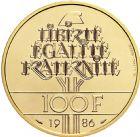 Photo numismatique  ARCHIVES VENTE 2016 -6 juin LOTS DE MONNAIES   409- 100 francs or 1986.