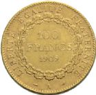 Photo numismatique  MONNAIES MODERNES FRANÇAISES 3e REPUBLIQUE (4 septembre 1870-10 juillet1940)  100 francs or, Paris 1909.