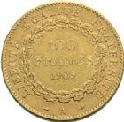 Photo numismatique  MONNAIES MODERNES FRANÇAISES 3ème REPUBLIQUE (4 septembre 1870-10 juillet 1940)  100 francs or, Paris 1909.