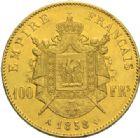 Photo numismatique  MONNAIES MODERNES FRANÇAISES NAPOLEON III, empereur (2 décembre 1852-1er septembre 1870)  100 francs or, Paris 1858.